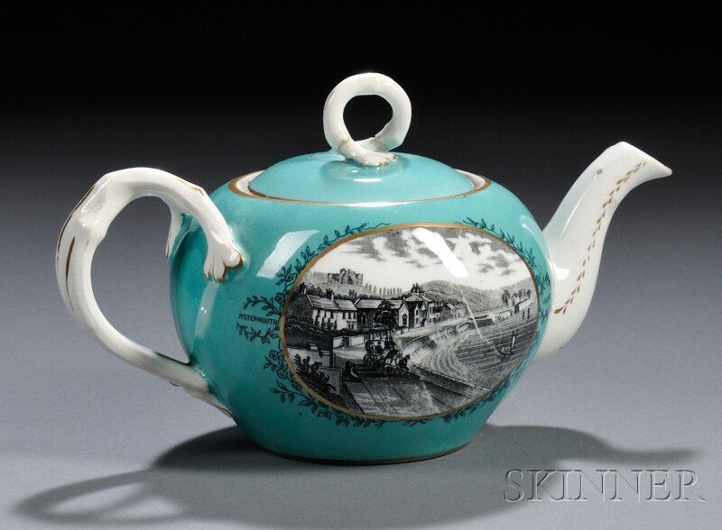 1: Swansea Porcelain Transfer-decorated Teapot and Cove
