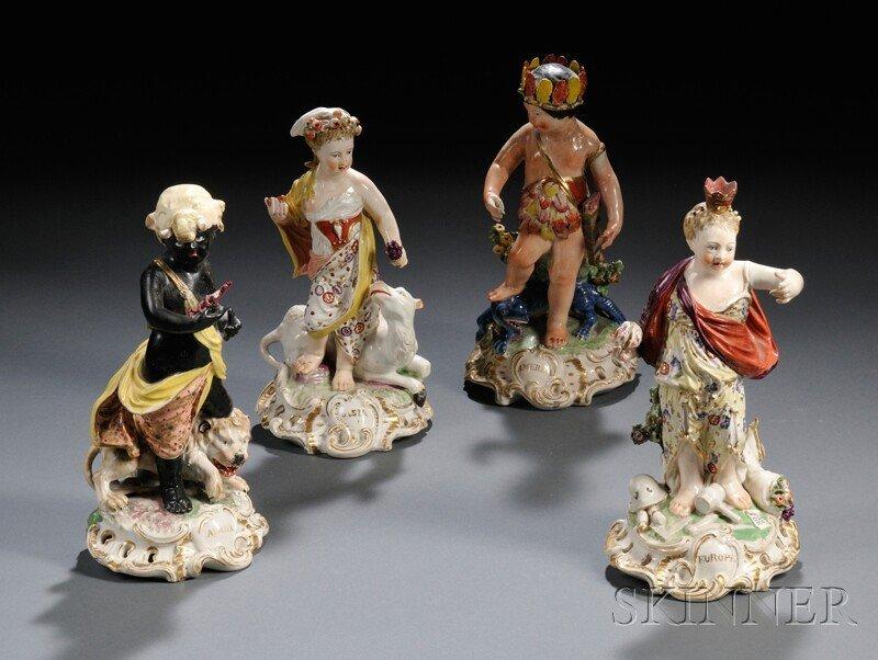 2: Four Derbyshire Porcelain Figures, England, late 18t