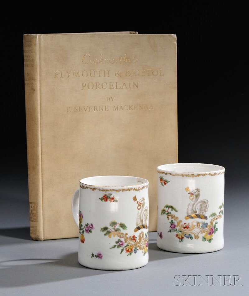 3: Pair of Cookworthy's Plymouth Porcelain Mugs, Englan