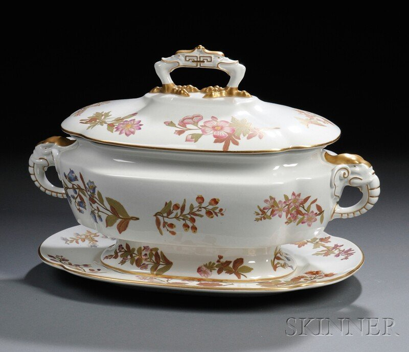 6: Royal Worcester Porcelain Covered Tureen on Stand, E