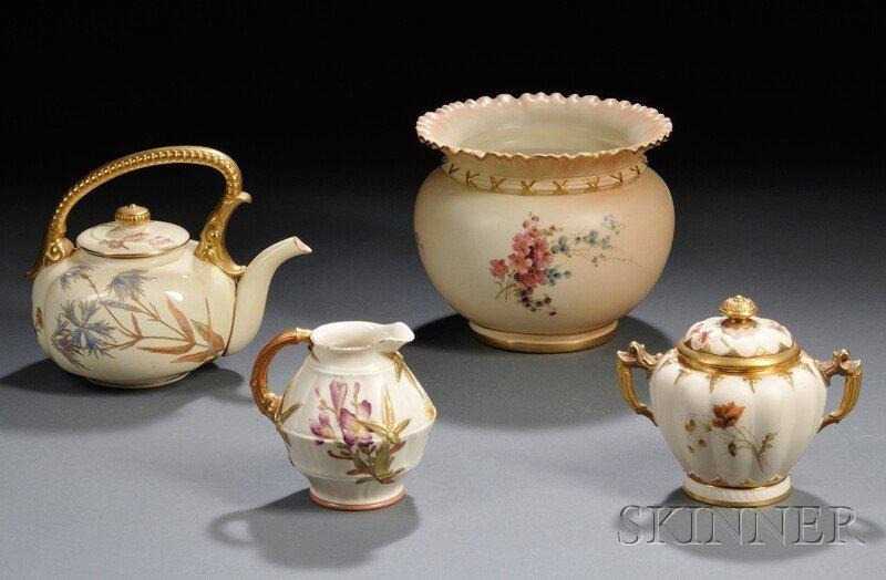 12: Four Royal Worcester Porcelain Items, England, 19th