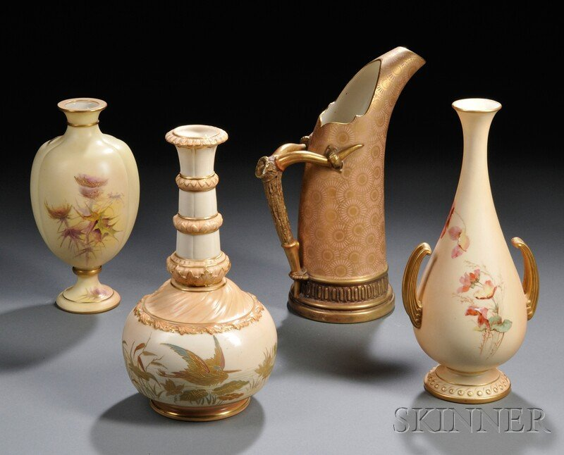 13: Four Worcester Porcelain Items, England, 19th and e