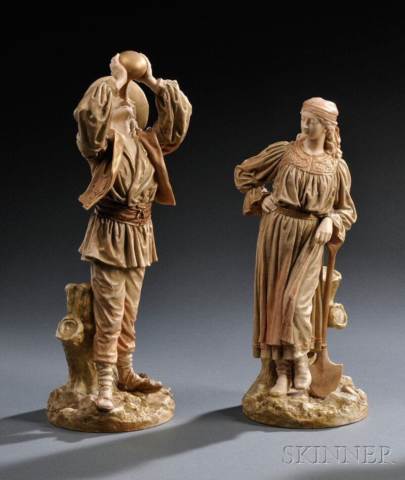 14: Pair of Royal Worcester Porcelain Roumanian Man and