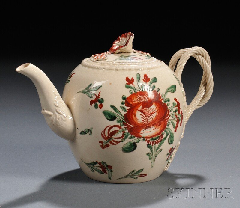 18: Enameled Creamware Teapot and Cover, England, late