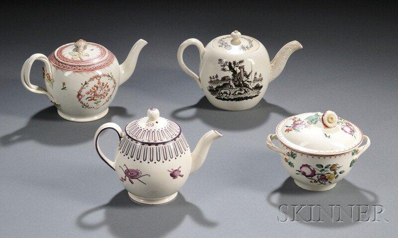20: Four Staffordshire Creamware Tea Ware Items, Englan