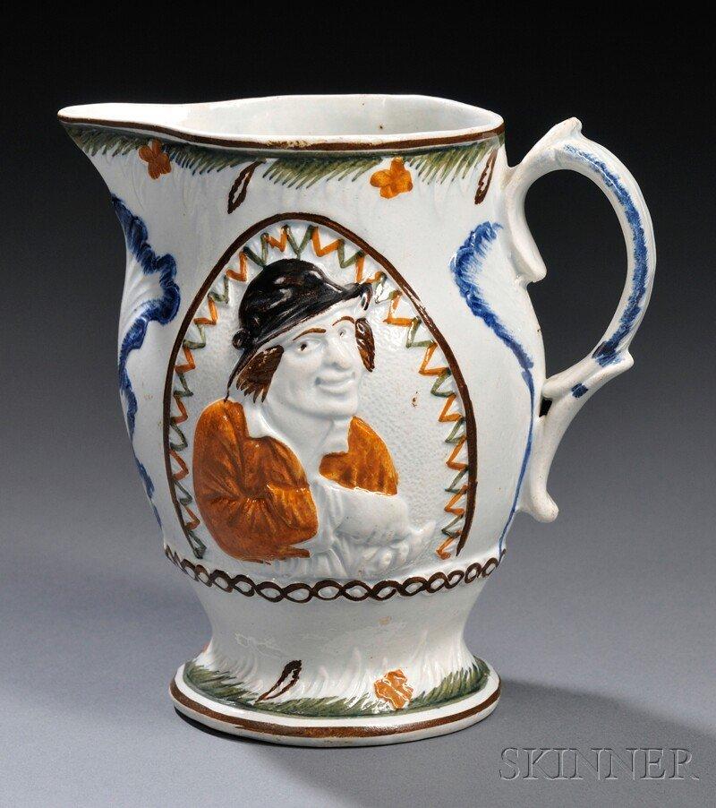 23: Pratt-type Pearlware Miser Jug, England, c. 1800, u