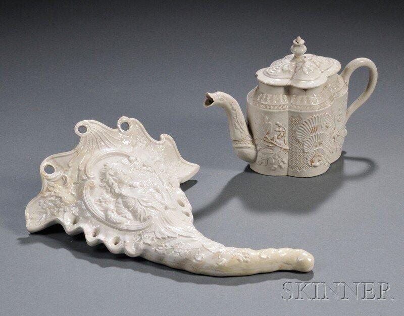 26: Two Staffordshire White Salt-glazed Stoneware Items