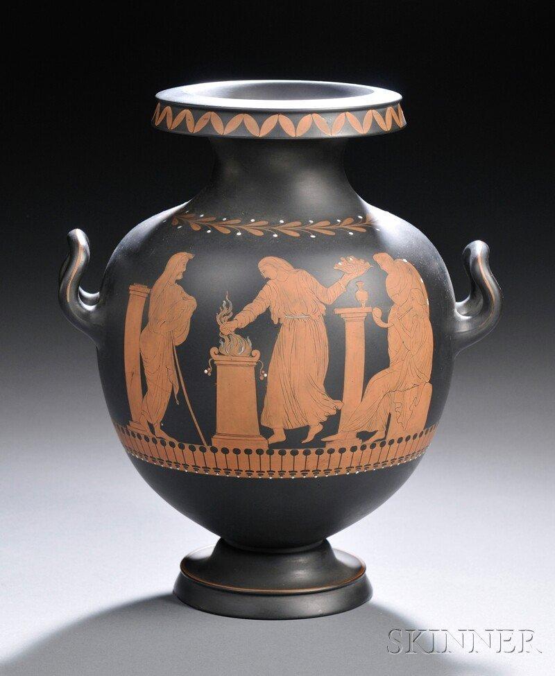 65: Wedgwood Encaustic Decorated Black Basalt Vase, Eng
