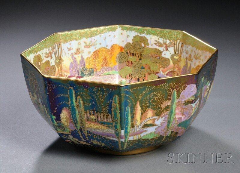 247: Modern Wedgwood Fairyland Lustre Octagonal Bowl, E