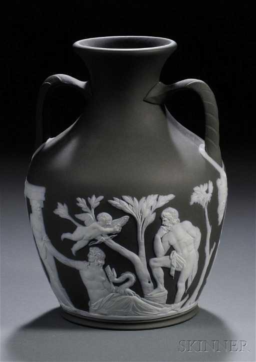286 Wedgwood Solid Black Jasper Portland Vase England
