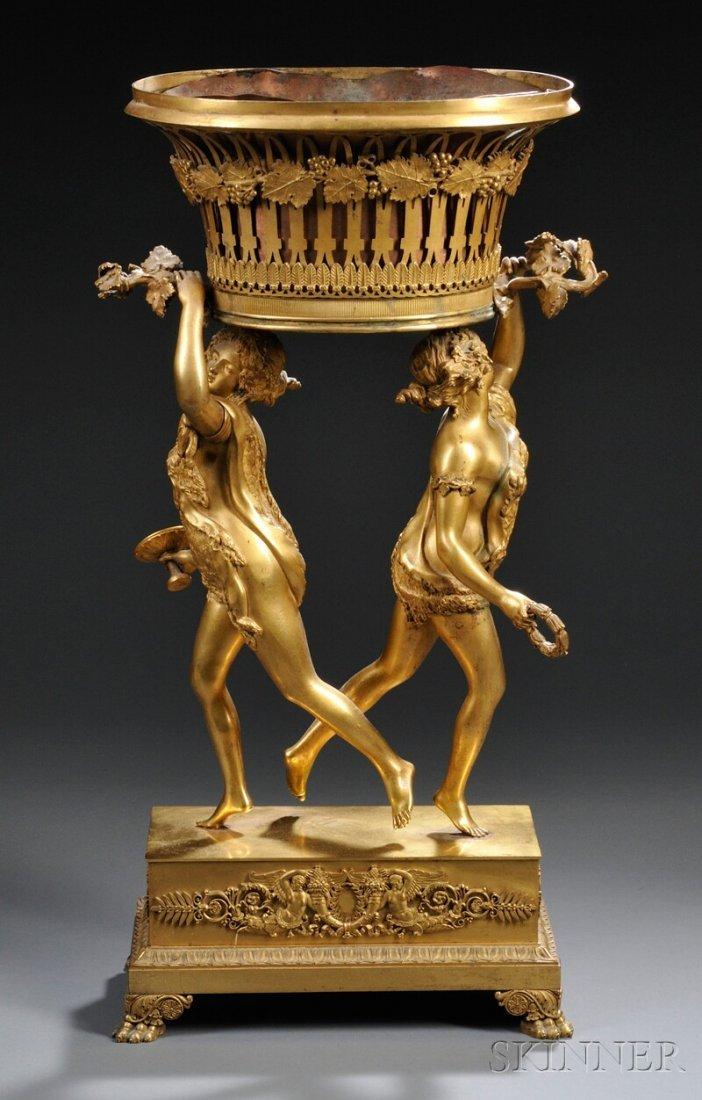 422: French Ormolu Figural Jardiniere, 19th century, th