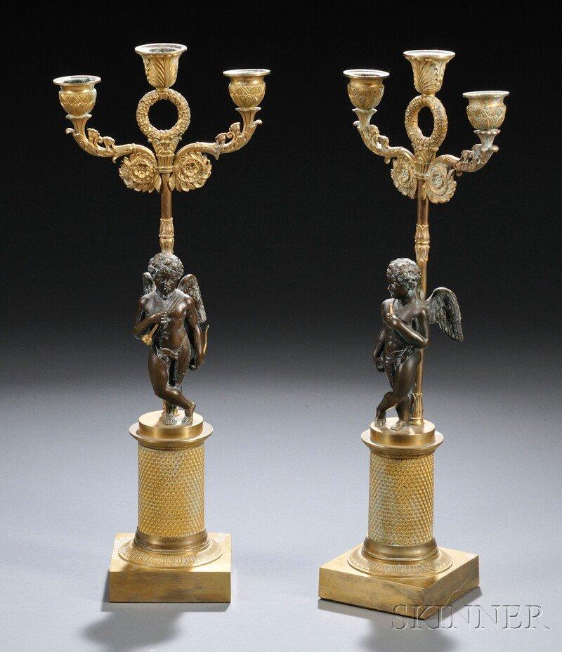 431: Pair of Three-arm Gilt Candelabra, each with folia