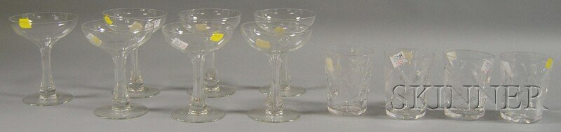 5: Two Small Sets of Colorless Glassware, a set of seve