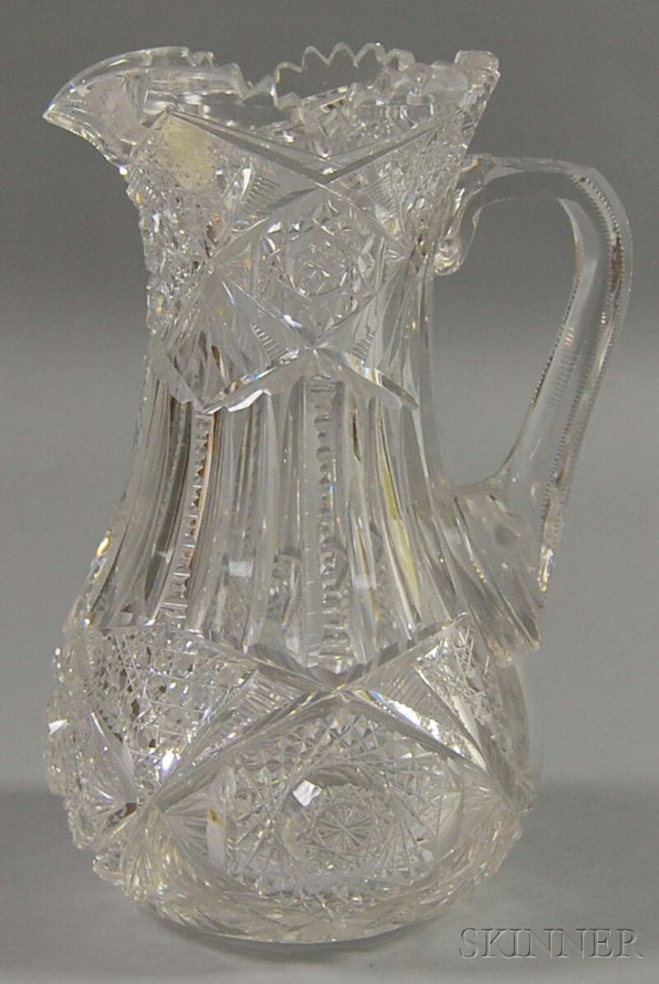 6: Colorless Cut Glass Water Pitcher, unmarked, the vas