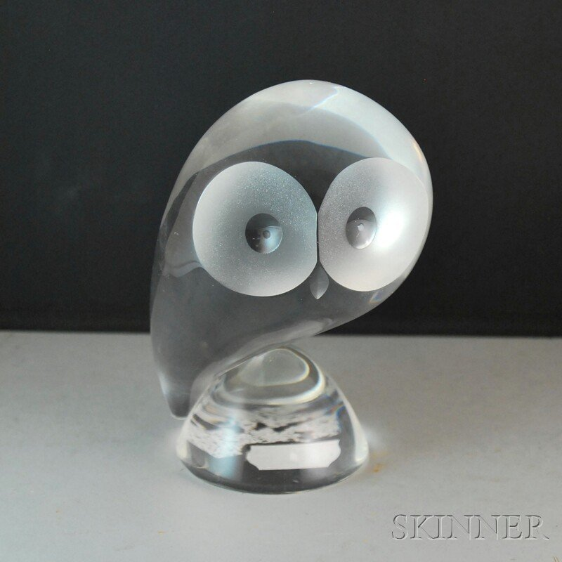 10: Small Steuben Colorless Glass Owl Sculpture, the ab
