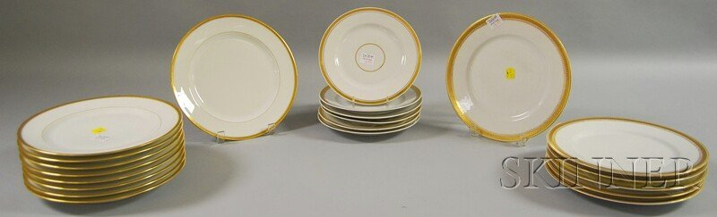 18: Twenty-one Pieces of Gilt-rimmed Porcelain Dinnerwa