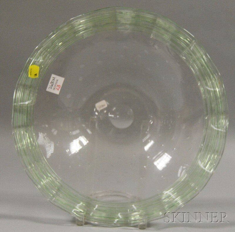 23: Steuben Pale Green Art Glass Center Bowl, with gree