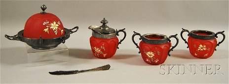 301 Fourpiece Floraldecorated Metalmounted Red Sati