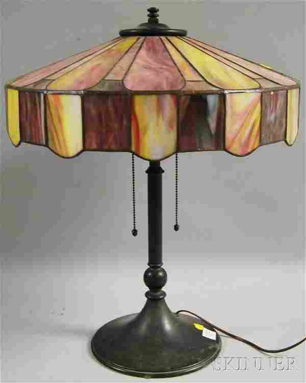 310: Mosaic Art Glass and Patinated Metal Table Lamp, s