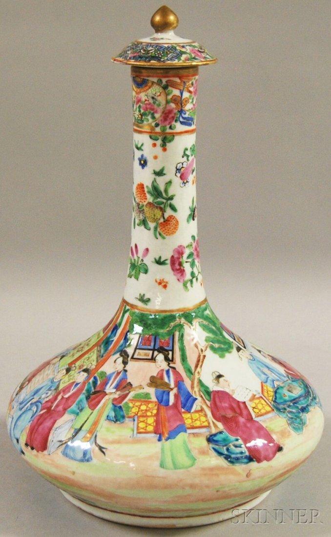 326: Chinese Export Porcelain Rose Mandarin Bottle, wit