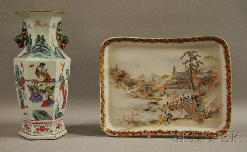 331: Chinese Hexagonal Famille Rose Porcelain Vase and