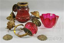 581 Two Late Victorian Cranberry Art Glass and Brass L