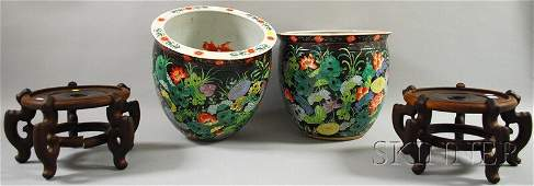 781 Pair of Modern Chinese Porcelain Famille Noir Fish