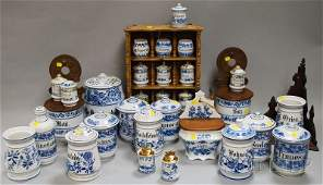955 Group of Blue and Whitedecorated Kitchen Ware and