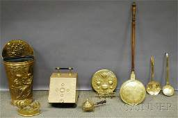 963: Eight Continental Brass Repousse-decorated Items,