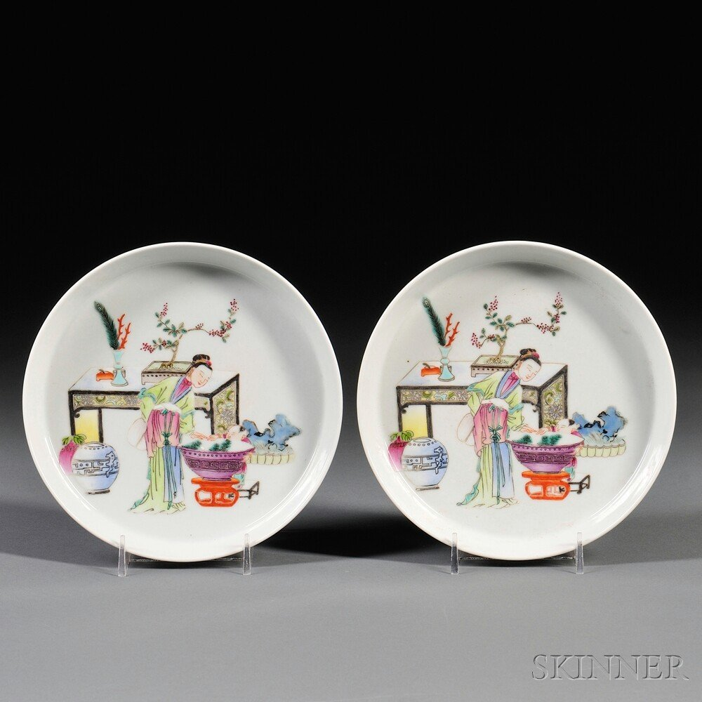 7: Pair of Famille Rose Dishes, China, 20th century, ea