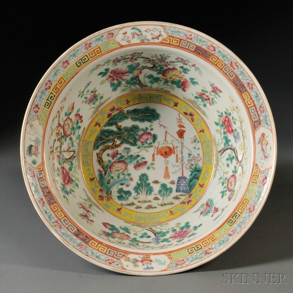 17: Famille Rose Porcelain Basin, China, 20th century,