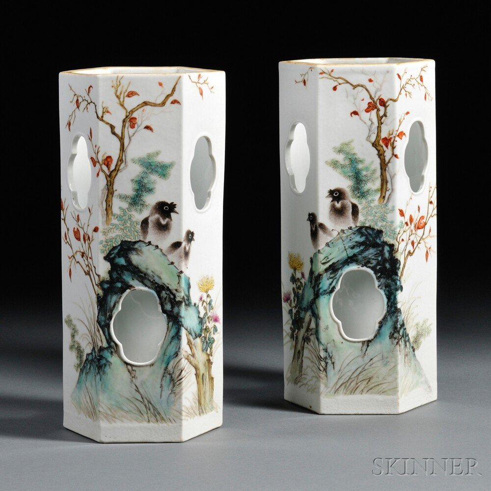 18: Pair of Porcelain Hat Stands, China, 20th century,