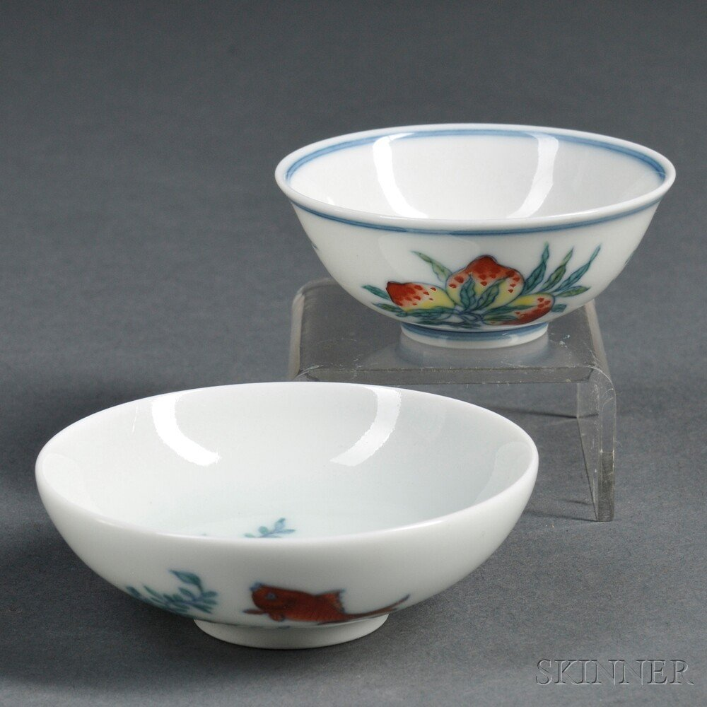 20: Two Miniature Bowls, China, 20th century, one depic