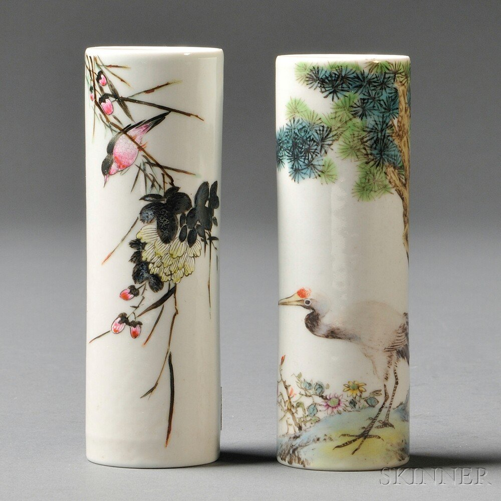 21: Two Miniature Vases, China, 20th century, cylindric
