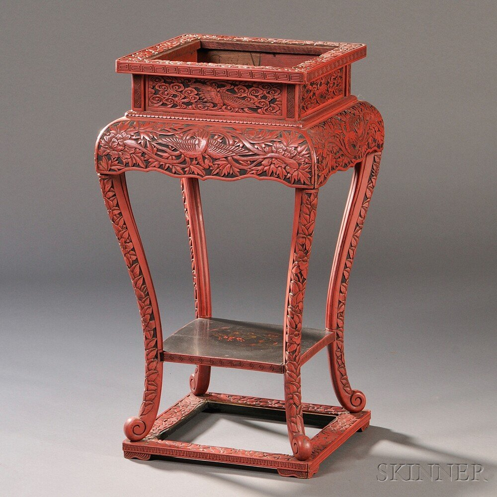 481: Red Lacquer Stand, China, 19th/20th century, squar