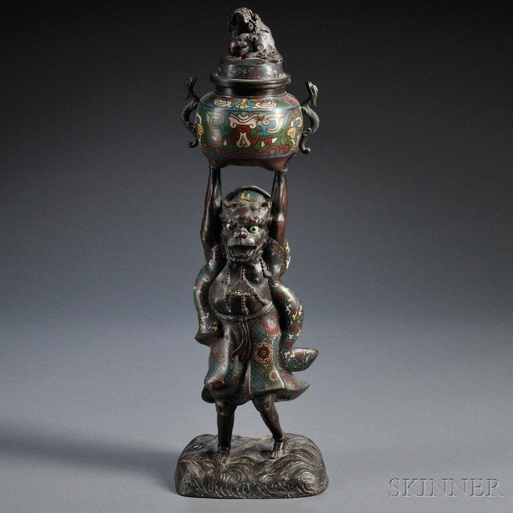542: Cloisonne Figural Censer, Japan, 20th century, the