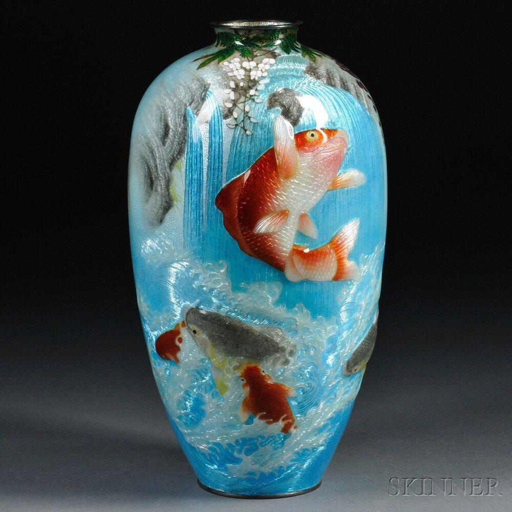 545: Cloisonne Vase, Japan, 20th century, baluster shap