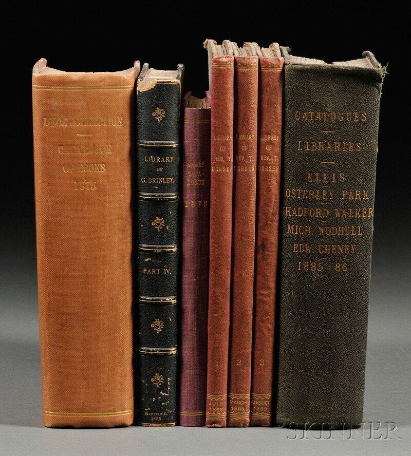 Book Catalogs, Seven Volumes: Bound volumes of 19th cen