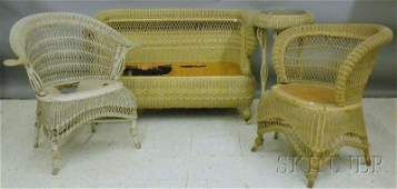 Four Pieces of Painted Late Victorian Woven Wicker Furn