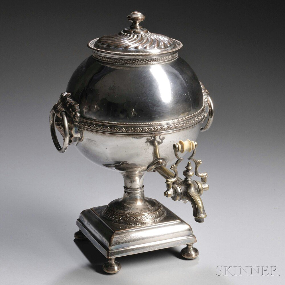 English Silver-plated Hot Water Urn, lacking visible ma