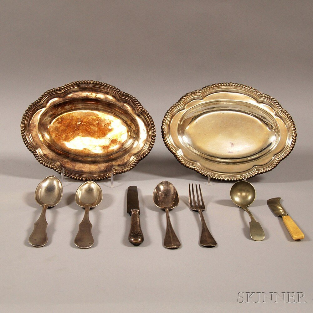 Nine Silver and Silver-plated Flatware and Serving Piec