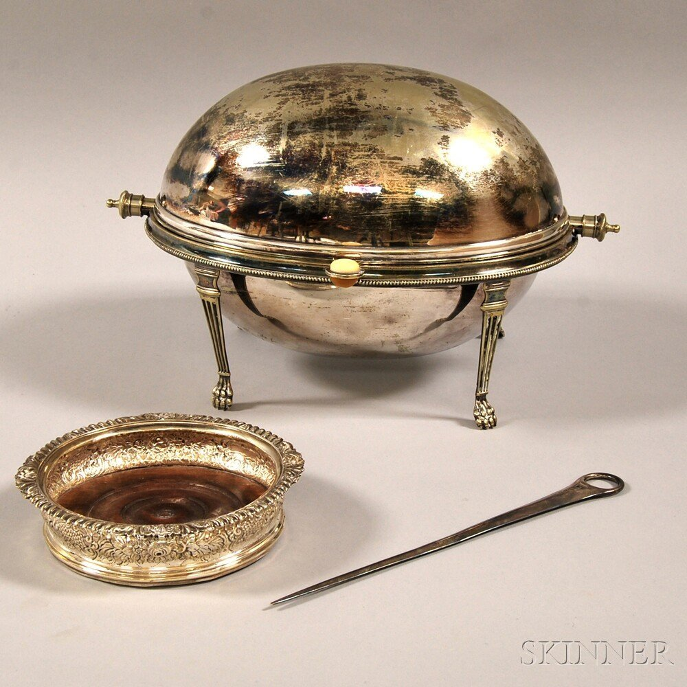 Three English Silver and Silver-plated Tableware Articl