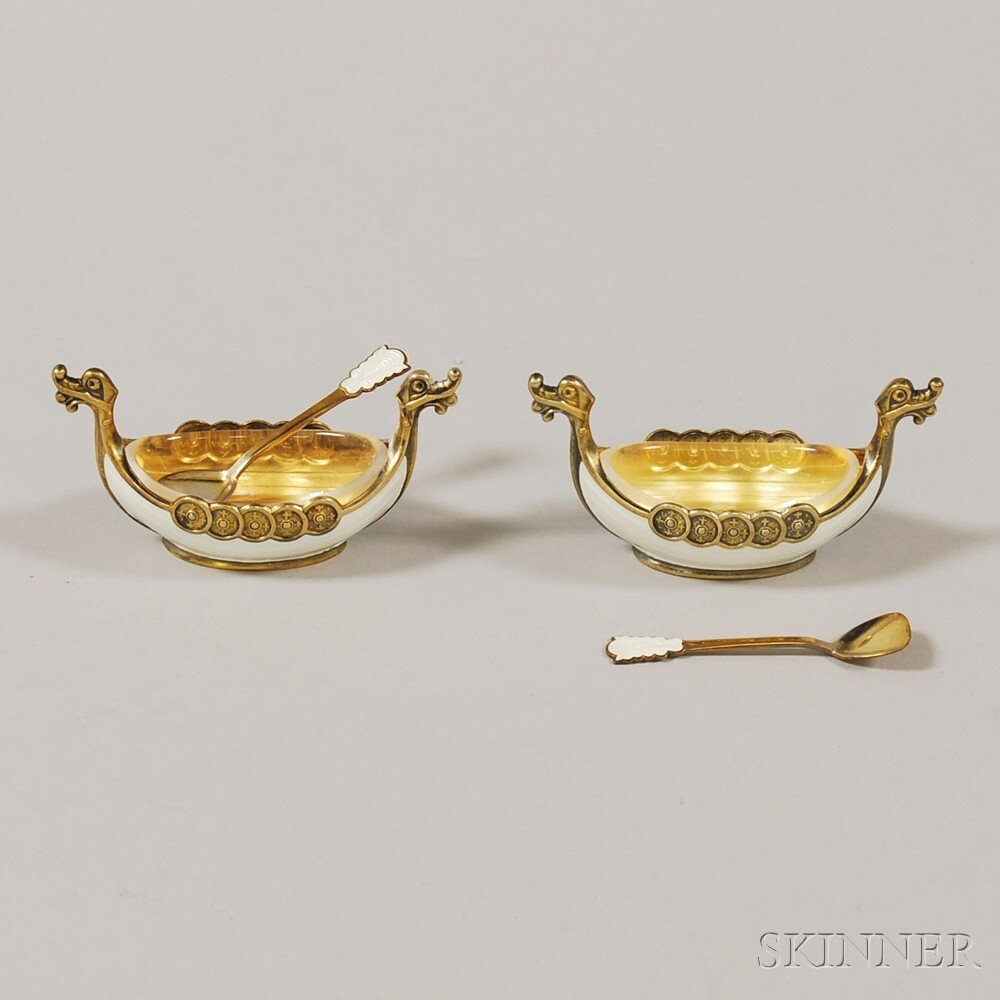Pair of Norwegian Gold-washed Sterling Silver and Guill