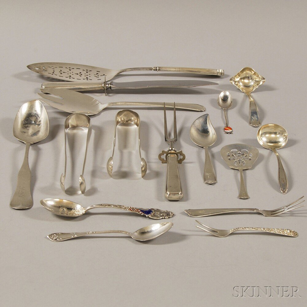 Sixteen Assorted Silver and Silver-handled Flatware Ite