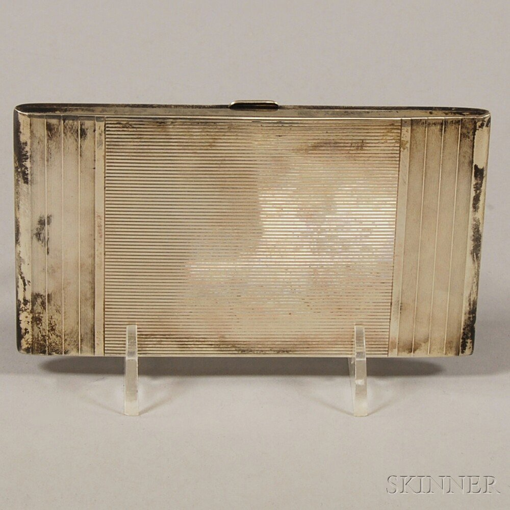 Art Deco Sterling Silver Cigarette Case, c. 1920, with