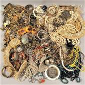Large Group of Costume Jewelry, including beadwork, fau
