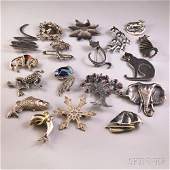 Approximately Eighteen Mostly Sterling Silver Brooches