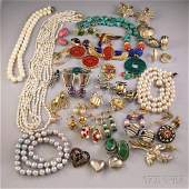 Small Group of Costume Jewelry, including pearl and har