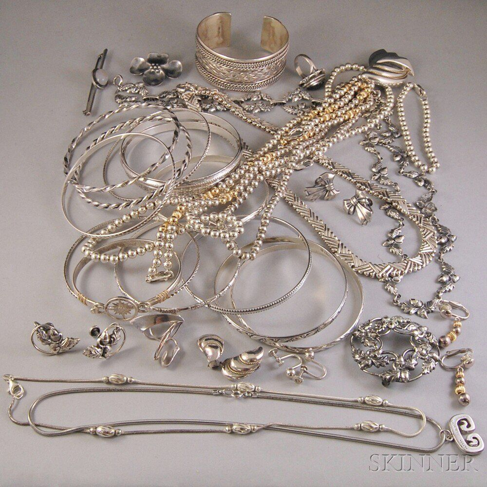 Small Group of Sterling Silver Jewelry, including bangl