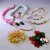 Small Group of Costume Jewelry, including plastic leaf